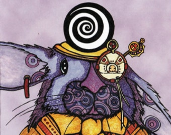 Get Well Greeting Card, Steampunk Rabbit, Blank Inside