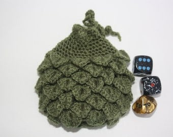 Scale Dice bag moss green  pouch / crocodile stitch