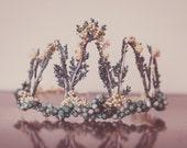 Birthday Flower Crown - Wire Crown - Fairy Crown - Flowergirl hairpiece - Newborn Photo Prop - Wedding Crown - Floral Hairpiece