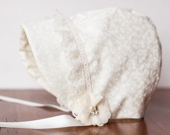 SunBonnet - Summer time Bonnet - Newborn Photo Prop - Vintage Inspired Prop - Baby Hat - Newborn Bonnet