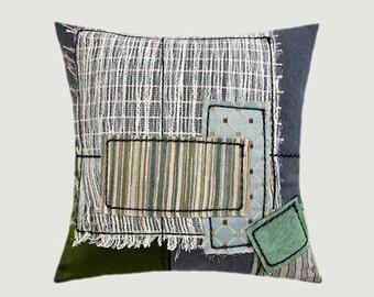 "Decorative pillow case, Grey, Beige, Green, Creamy color fabrics, Art Throw pillow case, fits 18"" x 18"" insert, Cushion case, Toss case"