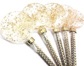 12 - LARGE 2.5 INCH GOLD Crystal Lollipops with Bling Stick  - Wedding, Bridal Shower, and Party Favors
