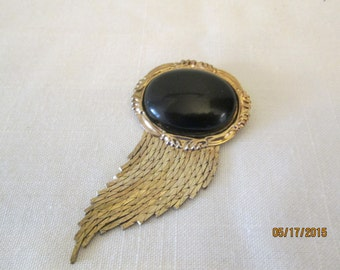 Vintage black oval broach