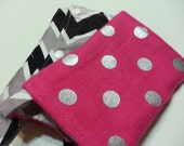 Pink Polka Dot and Grey Chevron Flannel Tula Suck Pads