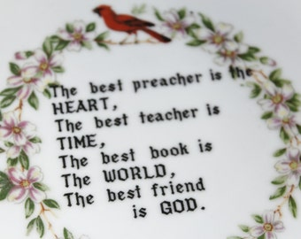 Vintage Porcelain Decorative Plate with Quote