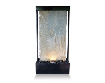 Tabletop Fountain | Quartzite Slate with Black Patina | Water Feature