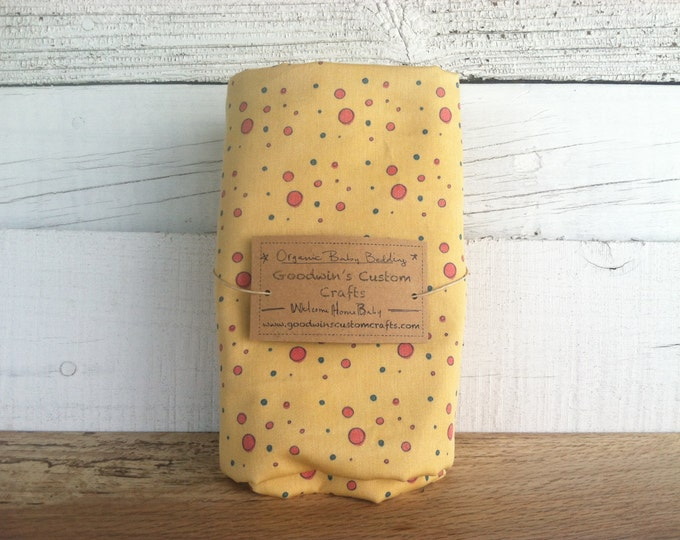 Organic Baby Bedding, Crib Sheet, Changing Pad Cover - Sunny Yellow Dots