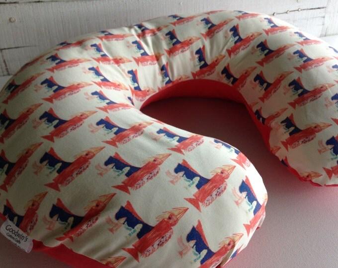 Organic Boppy Slip Cover - Nursing Pillow Cover - Birds In Flight