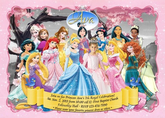 personalize be a disney princess party invitation, all princesses, Birthday invitations