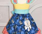 Girls Custom Disney Clothing, Star Wars double flutter ruffle dress sizes 8-15/16, tween dress, girls dress, droid,