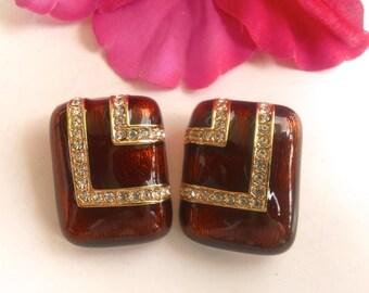 Ciner Copper Enamel & Rhinestone Pave Earrings Clip On Designer Fashion Jewelry