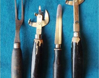 4 Vintage Black Handle Utensils