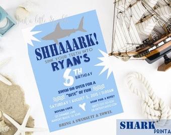 Shark Invite, Printable Shark invitation, Shark Birthday Party theme, Shark Party invitations