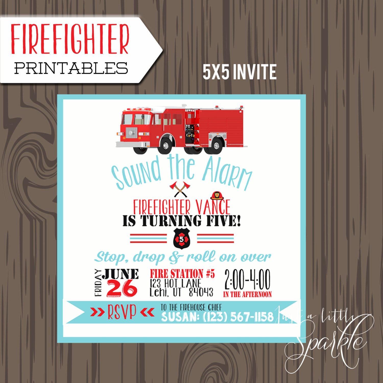 Fire truck birthday party set, printable Fireman invitation ...