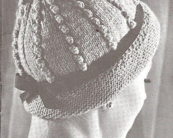 INSTANT DOWNLOAD, Vintage Knitting  Pattern, Adult Popcorn Cloche, Popcorn Cap Pattern  PDF  pattern
