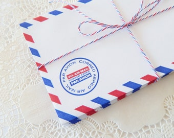 Air Mail Envelopes.  Set of 15.  Colorful Par Avion Stationery for Bookbinding Altered Art Snail Mail Scrapbooking