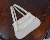 1950s Gilli Lucite Box Purse Stacked Compartment Pearly White Box Purse