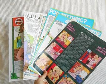 Fashion Illustrations Vintage magazine 3 Double Pages ephemera