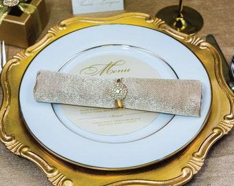 50pcs Gold Napkin Rings, Rhinestone Wedding Napkin Rings Wedding Table Decor Gold Wedding Bling, 544-G-N