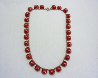 Vintage Art Deco Carnelian Glass Necklace