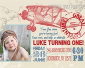 VINTAGE AIRPLANE BIRTHDAY Party or Baby Shower Invitation - Photo Optional - Red and  Blue Vintage airplane Invite - Vintage airplane party
