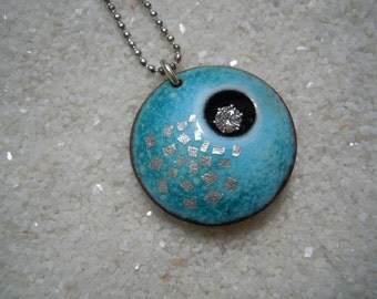 Blue Jewelry, Enamel Jewelry, Copper Enamel, Blue Necklace, Blue Pendant, silver color chain