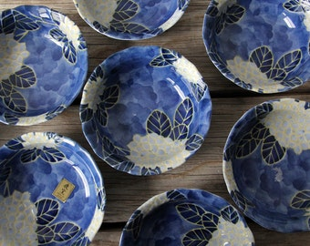 Japanese Painted Blue & Yellow Flower Bowls (Set of 8)