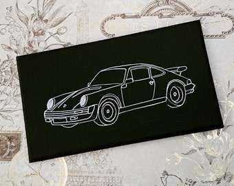 Porsche 911 Illustration Classic Car Wooden Hanging Sign Plaque Hand Painted Gift