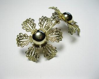 Judy Lee - Extra Large Vintage Earrings - Filigree Blossoms - Clip-ons - Floral Earrings - Flower Earrings