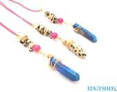 Quartz Point Pendant Necklace, Dalmation Jasper, Long Beaded Necklace, Wire wrapped Gemstone Necklace, Pink & Gold dainty Chain Spot Jasper