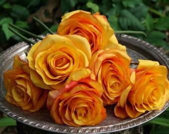 SIlk Roses - Orange - Wedding flowers - Six Roses - Faux Flowers - De-Stash