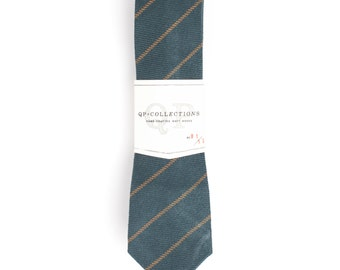 Moss Stripe - Skinny Tie - Wedding - Monogram - Groom