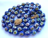 Art Deco Necklace Cloisonne Enamel Beads Hand Knotted 1930s Antique Jewelry