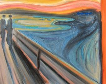 """Pug Art Print of an original oil painting- """"Scream""""- a parody of the classic original-8"""" x 10""""- Dog Art"""
