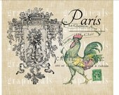 Paris rooster ephemera Instant Digital download graphic image for iron on fabric transfer burlap decoupage cards pillows No. 2231