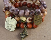 Acai Seeds Charms Bracelets - 3 - mauve, rusty orange, natural - stackable, charms, shell, dreaming of the sea, live with no regrets