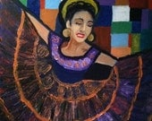 Mexican dancer oil painting