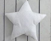 gray polkadot star pillow, gray star shaped cushion, nursery pillow/ gray nursery decor/ star pillow/ star cushion/ baby pillow/ gray star