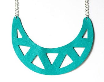 Leather Necklace / Statement / Bright Turquoise
