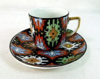 Art Deco Demitasse Duo, Czech EPIAG Jazzy Geometric Aztec Print Fine Porcelain China Coffee Cup & Saucer Set 1930s
