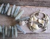 Sailing ship necklace, nautical jewelry, island jewelry, tropical jewelry, beaded necklace, blue stone jewelry, ocean jewelry