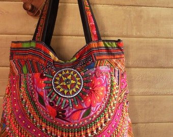 Hmong boho Fringe Tote Bag /// hippie // embroidery // tribal // colorful // beads purse // handbag // gypsy