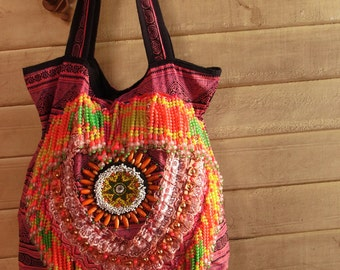 Artisan tribal Fringe Tote Bag /// Gypsy // embroidery // hmong // colorful // Ethnic // mexican // african // artisanal // OOAK