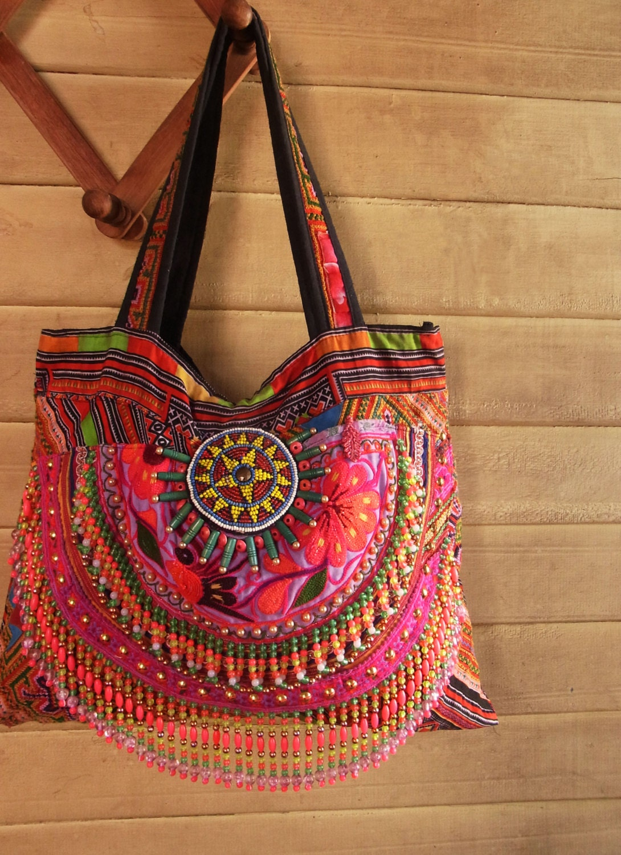 Hmong Boho Fringe Tote Bag Hippie Embroidery Tribal