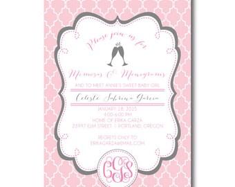 Sip n See Monograms and Mimosas Baby Shower Invitation