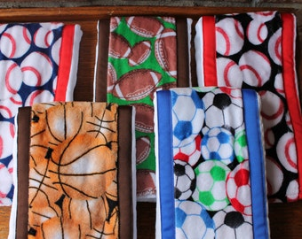 Pick 3 Minky Burp Cloths with Sports Print Minky and Coordinating Grossgrain Ribbon edging Sports Theme Baby Gift