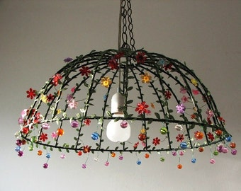 Under the Dome Large  Cieling Lampshade ,Unique black  Metal, green fabric  Leavs Flowers and Beads Lighting