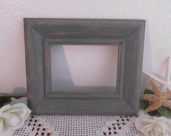Grey Picture Frame Rustic Shabby Chic Distressed Up Cycled Vintage Wood Beach Cottage Coastal Seaside Man Cave Home Decor Birthday Gift Him