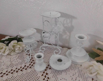 White Shabby Chic Distressed Candle Holder Set Up Cycled Vintage Candleholder Collection Rustic Wedding Reception Decoration Taper Pillar