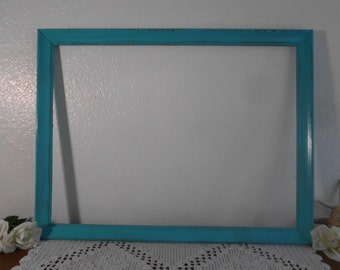 Aqua Turquoise Blue Frame 18 x 24 Shabby Chic Picture Photo Beach Cottage Coastal Seaside Nautical Home Decor Summer Wedding Gift Him Her